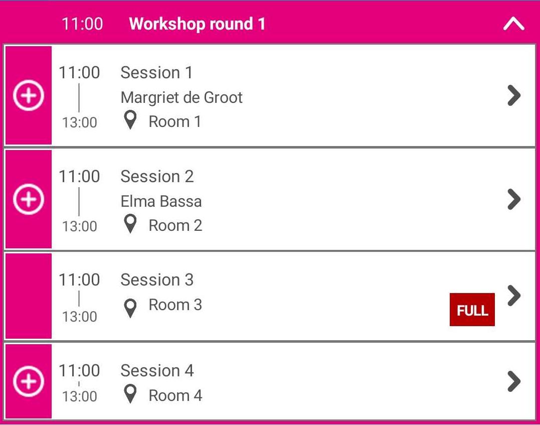 In-app workshop selectie