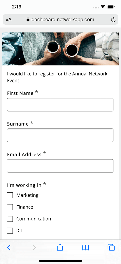 screenshot registration